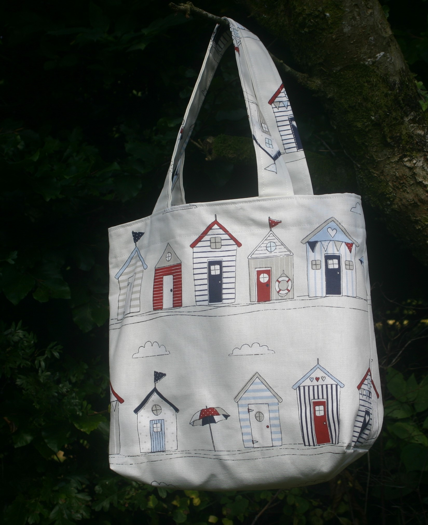 Beach Hut Print Shopping Bag