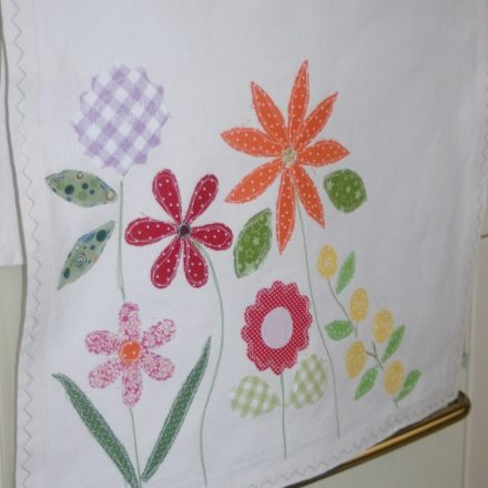Flowers organic tea towel