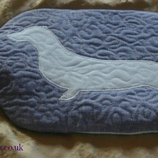 Blue dachshund hot water bottle cover | magathabagatha.co.uk