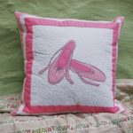 Pink ballet shoes quilted cushion | magathabagtha.co.uk