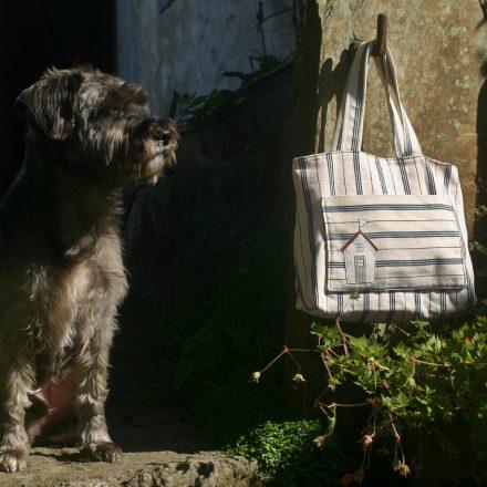 Stripy beach hut tote bag with Scamp   magathabagatha.co.uk