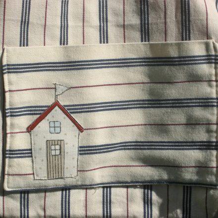 Stripy beach hut tote bag pocket   magathabagatha.co.uk