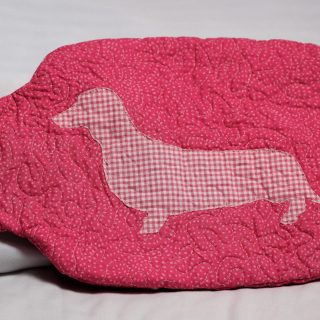 Dots and gingham dachshund hot water bottle cover front